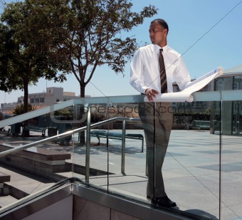 African American Architect Outdoors Looking On