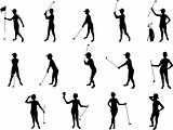 girl and golf silhouettes