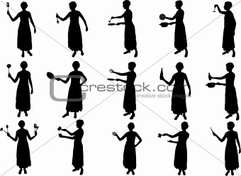 gril cooking silhouettes