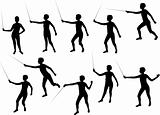 gril fencing silhouettes