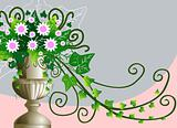 Background with antique flower vase
