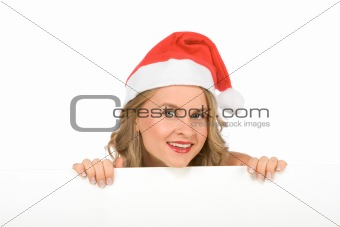 Blank sign – Mrs Santa Claus (with copy space)