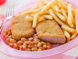 Breadcrumbed Luncheon Meat with Baked Beans and Chips