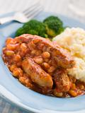 Sausage and Baked Bean Casserole with Mashed Potato and Broccoli