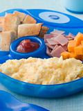 Scrambled Egg with Toast Ham and Cheese Squares