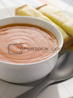 Bowl of Tomato Soup with Cheesy Toasted Soldiers
