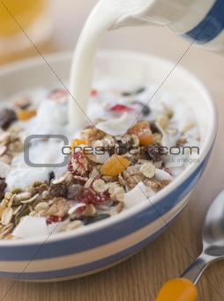 Pouring Milk over a Bowl of Museli