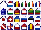 Flags of the world house icons