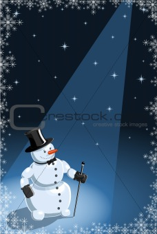 Vector illustration of a funny snowman