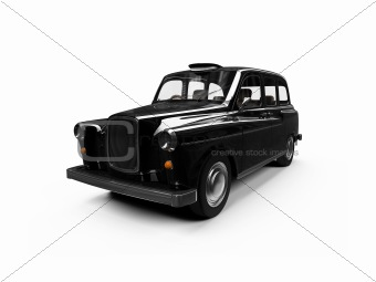 Black taxi isolated over white