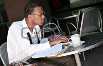 African American Black Businessman Working on His Laptop