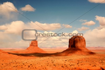 2 Buttes in Shadow in Monument Valley Arizona