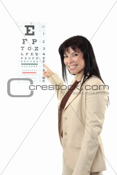 Female optometrist pointing eye chart