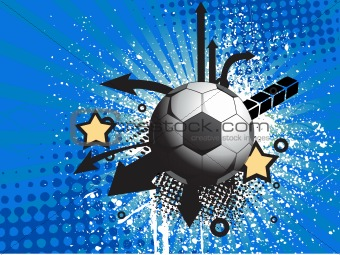 abstract funky background with football, illustration