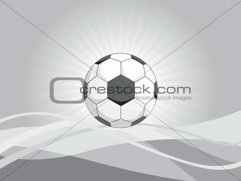 abstract wavy background with football, illustration