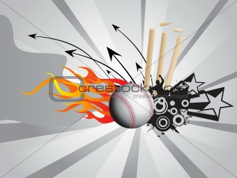 grunge fire background with cricket ball and stump, illustration
