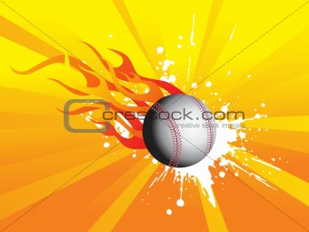 grunge fire background with cricket ball, illustration