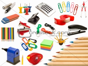 collection office tools on white background