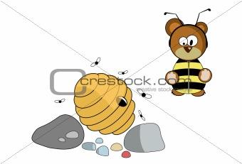 bear dressed up in honeybee