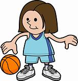 Illustration of girl playing basketball
