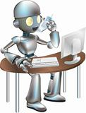 Illustration of robot sitting at desk