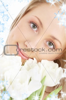 happy girl with white tulips