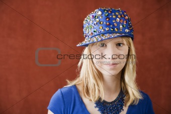 Teenage girl wearing a hat