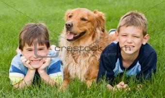 Boys and Golden Retriever