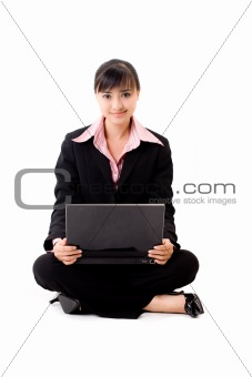 20s asian business woman with a laptop