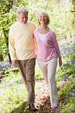 Couple walking outdoors smiling