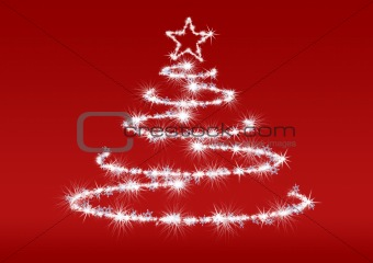 Abstract fur-tree red background