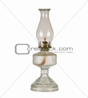 Antique oil lamp isolated with a clipping path