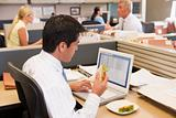 Businessman in cubicle at laptop eating sandwich