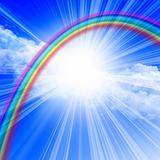 clear blue sky with rainbow