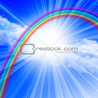 clear blue sky with rainbow