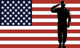 American Military serviceman and flag