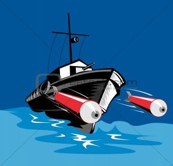 Torpedo boat firing