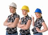 female construction workers in hard hats