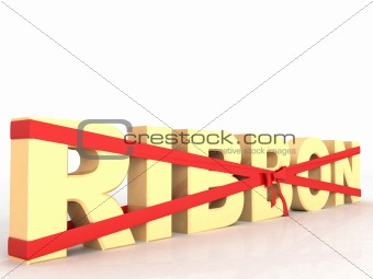 three dimensional wrapped ribbon text