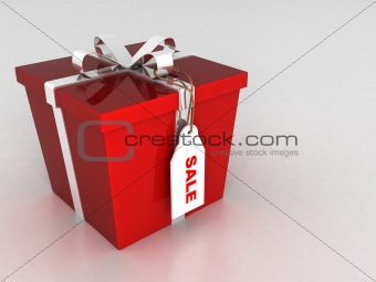 three dimensional wrapped gift box with sale tag