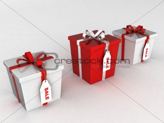 three dimensional wrapped gift boxes with sale tages