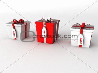three dimensional wrapped gift boxes in different sizes with sale tages