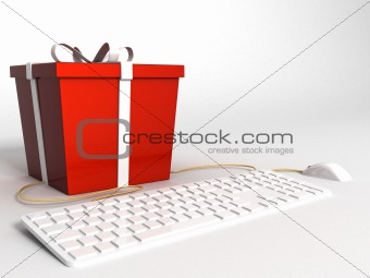 three dimensional  keyboard ,mouse and wrapped red gift