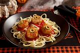 Halloween meatballs with eyes