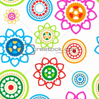 Circled hearts seamless pattern