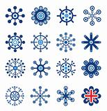 Retro Style Snowflakes Set