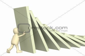 3d puppet, holding figures of a dominoes