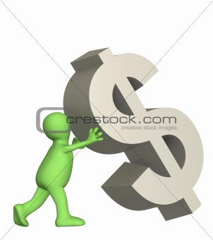 3d puppet, supporting falling symbol of dollar