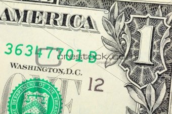 One dollar bill closeup