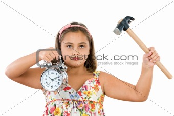 Beautiful girl with clock